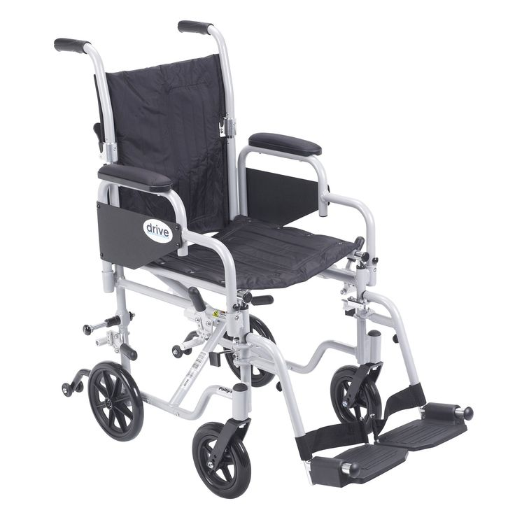 """Drive tr16 Poly Fly Light Weight Transport Chair Wheelchair with Swing away Footrests. The Poly-Fly High Strength Lightweight Wheelchair/Flyweight Transport Chair Combo by Drive Medical can be used as a standard, self propelled wheelchair or as a transport chair, all-in-one for your convenience. The quick release 24"""" wheels can be easily removed to transition from a wheelchair to a transport chair. Also comes with two sets of aluminum wheel locks, one for use with wheelchair and one for use…"""