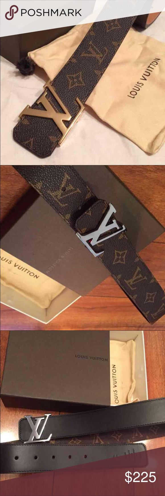 Authentic Brown Mono Reversible Louis Vuitton Belt Authentic New Reversible Brown and Black Louis Vuitton  Monogram Belt with Dark Chrome Silver Buckle.  LV Initiales 40MM  • Brand New & Authentic  •M9821 • Width 50 mm/1.6 inches Men Conversion sizes 90/36 is 30-32 waist  95/38 is 32-34 waist  100/40 is 34-36 waist  105/42 is 36-38 waist  110/44 is 38-40 waist  115/46 is 40/42 waist Belt will come w box and dustbag. Shipping: , We ship items within 24hrs of purchase, and you will receive it…
