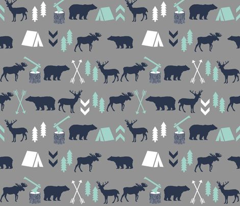 woodland camping boys nursery grey mint navy blue kids outdoors bear tent wood trees forest fabric by charlottewinter on Spoonflower - custom fabric