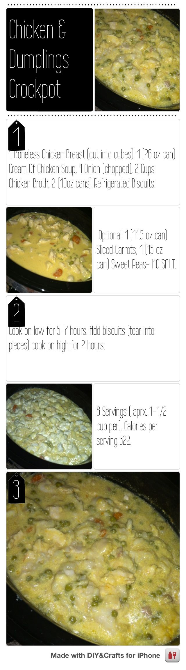 Chicken and Dumplings Crockpot. Low Calories per serving #DIYCraftsEditor #DIY #iOS @DIY & Crafts Editor iPhone App