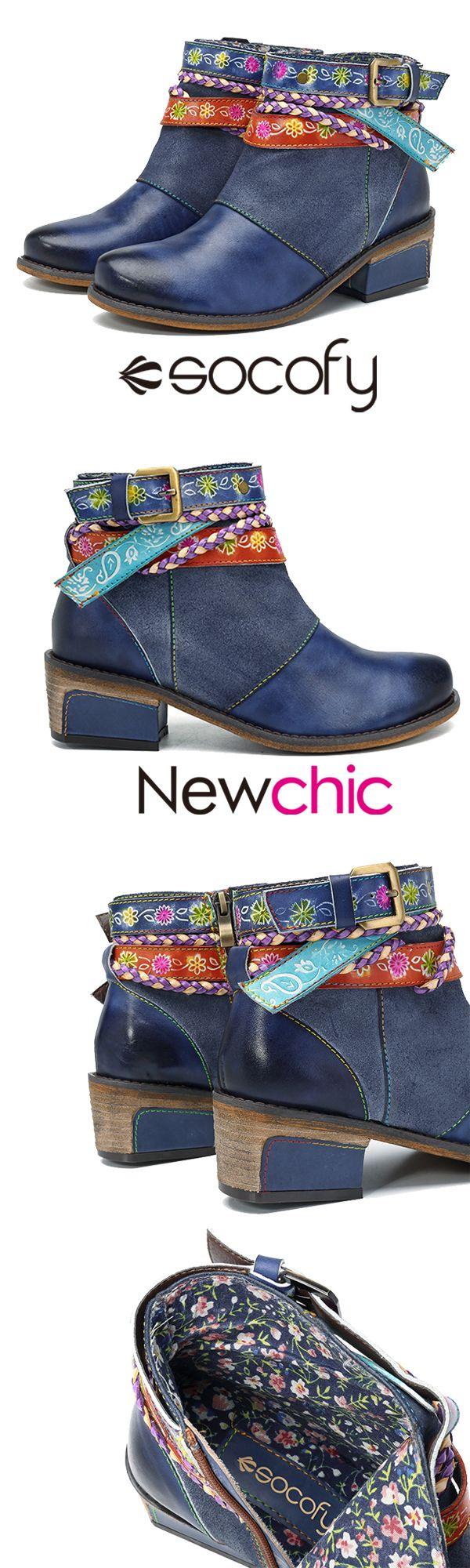 US$58.71 SOCOFY Friday Splicing Handmade Weaving Strap Ankle Leather Boots #GiftForHer #WinterBootsWomen