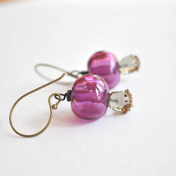 Purple Hollow Glass Earrings  Light Weight Earrings by bstrung, $30.00
