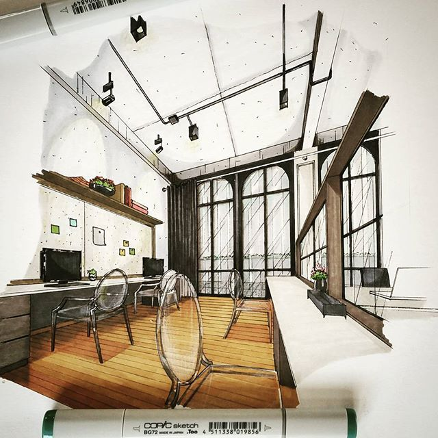 ✒ Production Zone #copic #copicmarkers #sketch #handdrawing #perspective #interiorsketch #interiordesign #interior #design #ghostchair #arquitetapage #arquisemteta #papodearquiteto #ar_sketch #arq_sketch #arch_daily #arch_more #arch_sketch #archsketch #archsketcher #arquinews #s2arquitetura #flarchitect #interiorstudent #tamasketch #tamainteriordesign