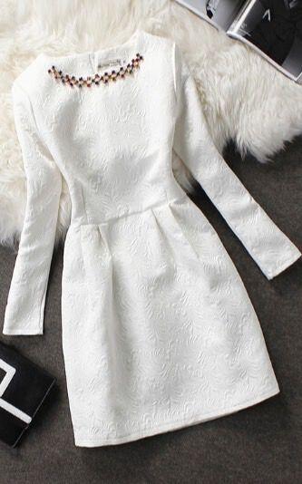 Elegant Embroidered White Dress