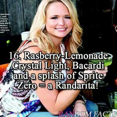 Miranda Lambert's drink ---- I still have this written in my phone from when she…