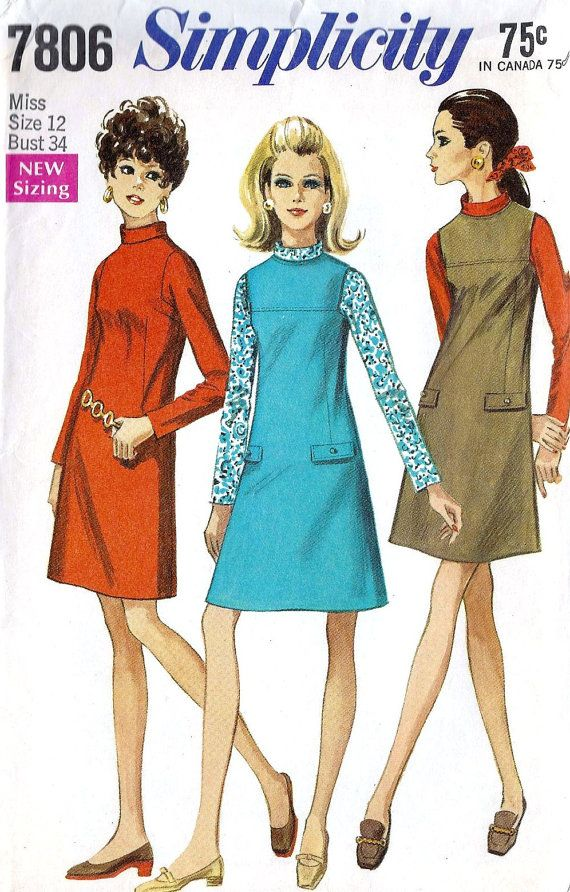 1960s Misses Jumper and Dress Vintage Sewing Pattern, Fall Fashion, Simplicity 7806 Bust 34 via Etsy