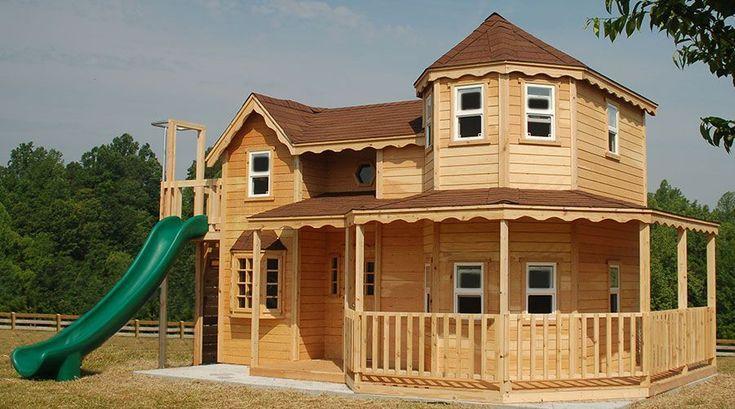 PDF DIY Wooden Playhouse Kit Plans Download wooden playset plans ... #outdoorplayhouseplans