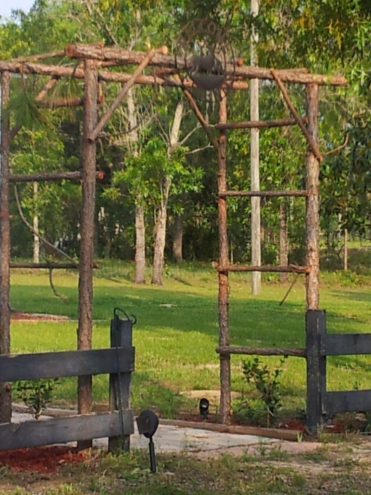 Rustic arbor trellis made from pine saplings easy and for Trellis or arbor