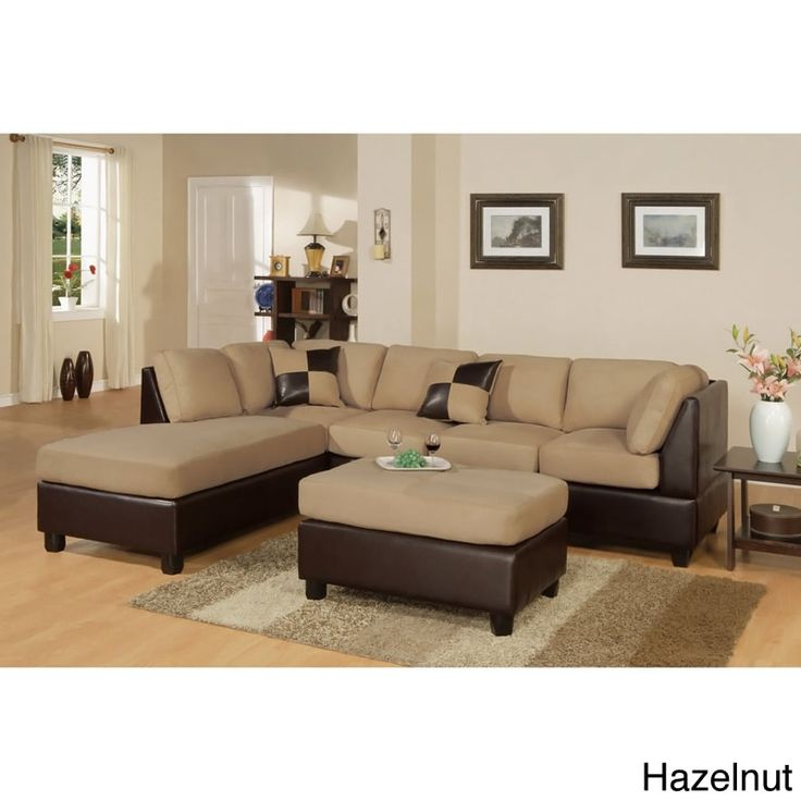 Poundex Montpellier Dual-tone Sectional Sofa Set with Matching Ottoman (Hazelnut), Brown (Faux Leather)