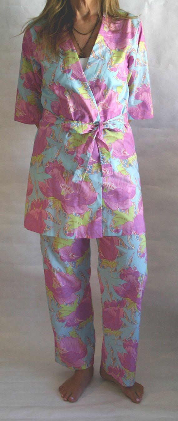 CUSTOM.  Women's Pajamas. Pajama Set.  Pajama by ModernKimonoRobes