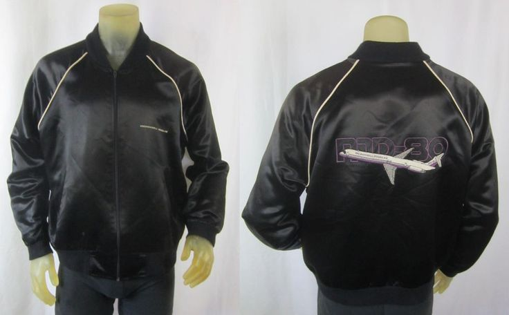 McDonald Douglas MD-80 Embroidered Satin Employees Jacket Large Top Line USA