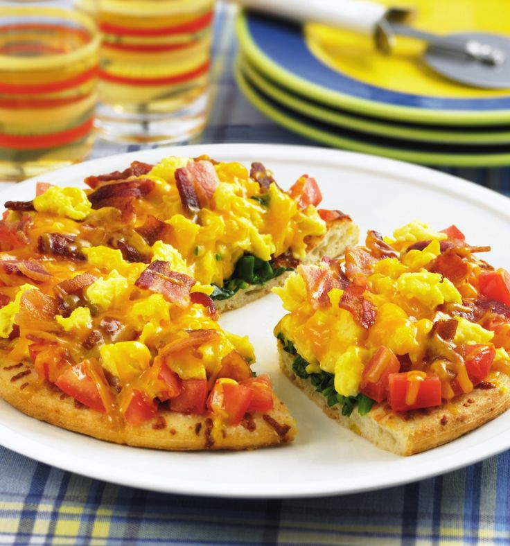 Here's a great way to start the day: Make a fresh, hot #pizza from scrambled #eggs and your favorite #omelet fixings!