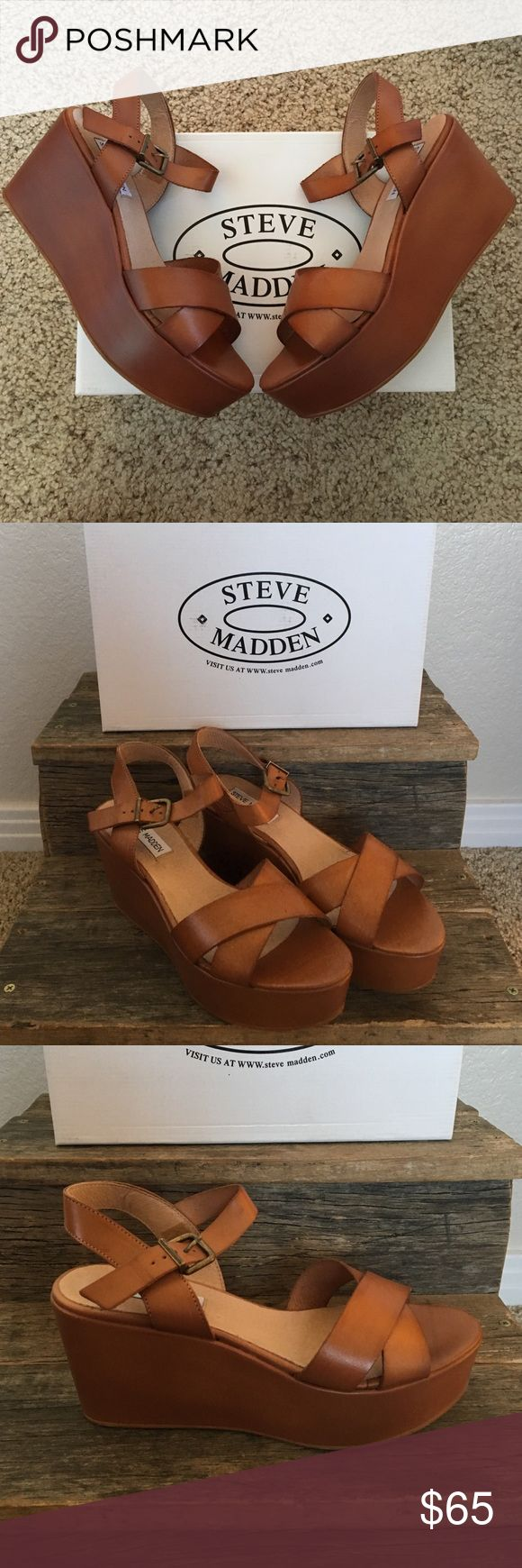 Steve Madden-Turks Cognac OMG!! This shoe would look great with anything... skinny jeans, shorts, dresses... you name it!! Beautiful platform sandal with tan leather straps! Steve Madden Shoes Platforms