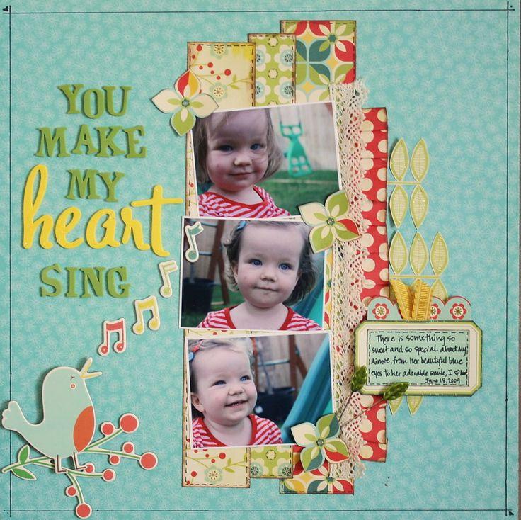 you make my heart sing #papercraft #scrapbook #layout. *One Scrappin' Mama Scrapbook Layout