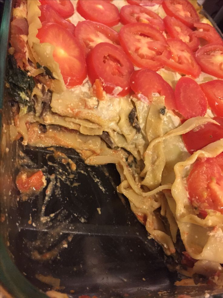 Thug Kitchen's Mushroom and Spinach Lasagna (bad pic).  I hate tofu with a passion, but I love this recipe! I think it's the basil pesto that makes it next level!