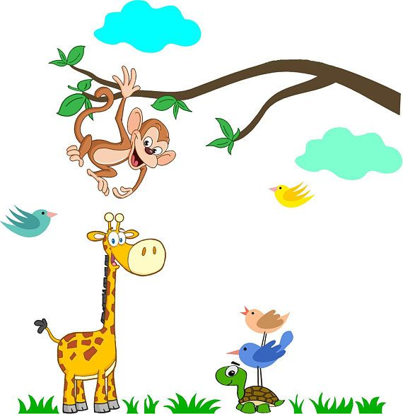 Muursticker tak met aapje uiltjes giraffe schildpad en