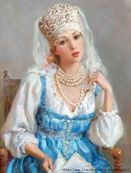 Pretty girl with pearls in a blue dress (445x586, 156Kb)
