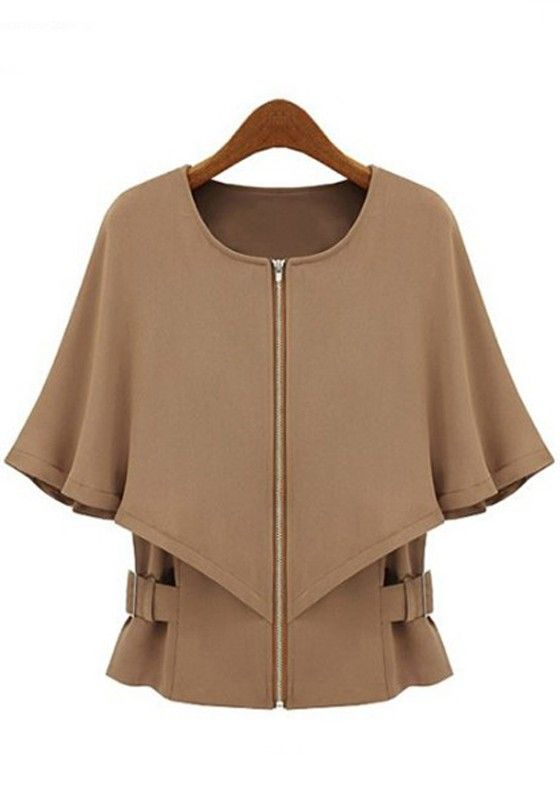 Brown Zipper Crew Neck Half Sleeve Trench Coat