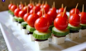 Food pops - tomato, cucumber, olive, cheese pops