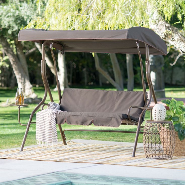 Outdoor Patio 2 Person Porch Swing With Adjustable Tilt Canopy And Side  Table