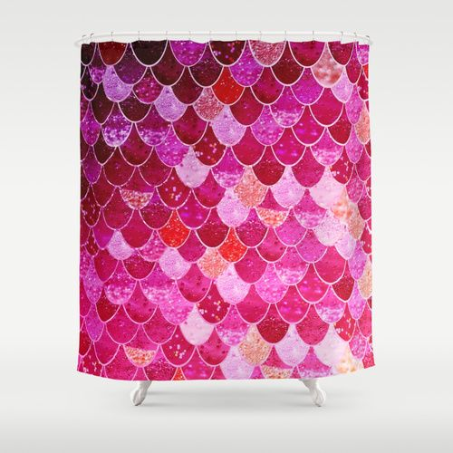 PINK MERMAID Shower Curtain By Monika Strigel