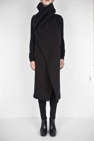 Rick Owens Lilies folded collar coat