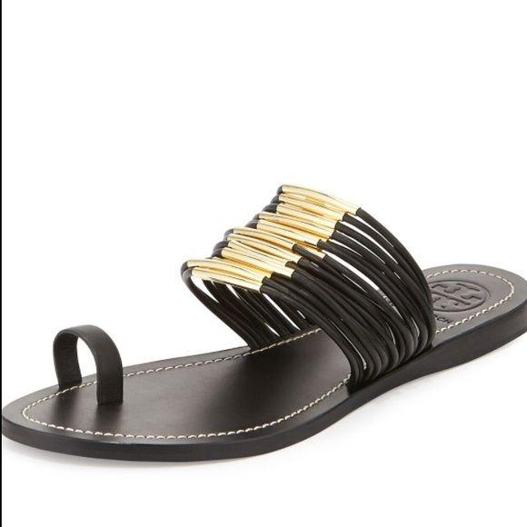 Tory Burch Mignon Rings Strappy Flat Sandal, Black NO TRADE. Tory Burch  leather slide