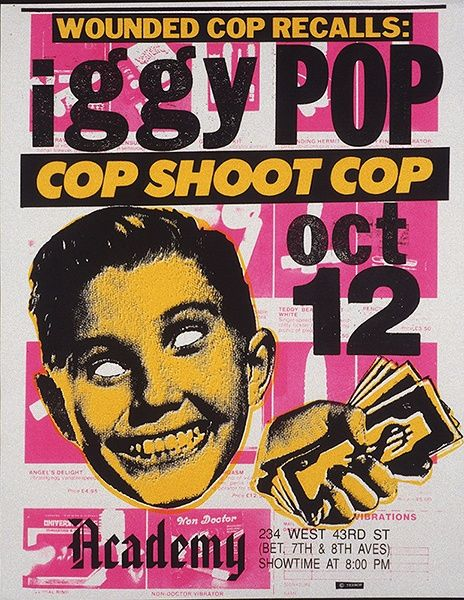 Iggy Pop Cop Shoot Cop Concert Poster Probably Mid 80's