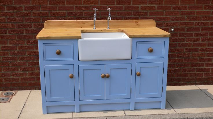 Cornflour Blue Freestanding Belfast Sink unit- designed and measured to your preferences