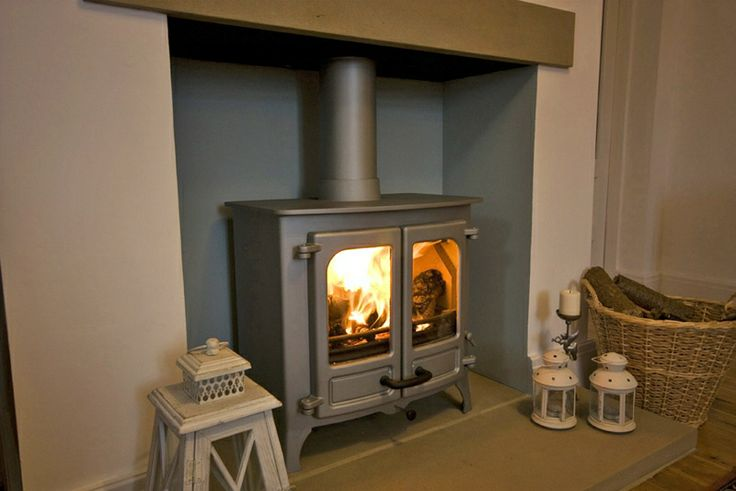 Charnwood Island II in pewter with Yorkshire stone lintel and hearth.
