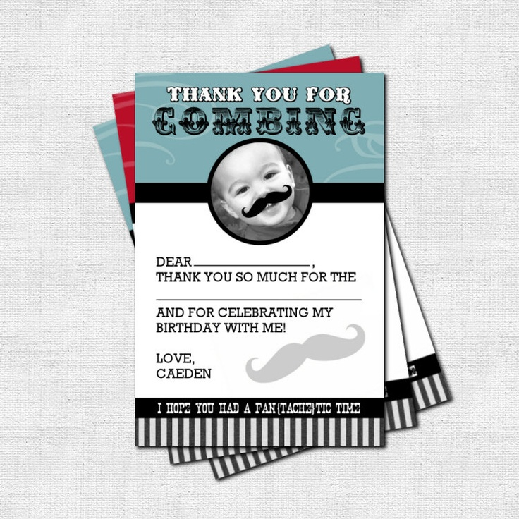 MUSTACHE BASH Thank You Cards Little Man Birthday Party - (print your own) Personalized Printable. $9.00, via Etsy.