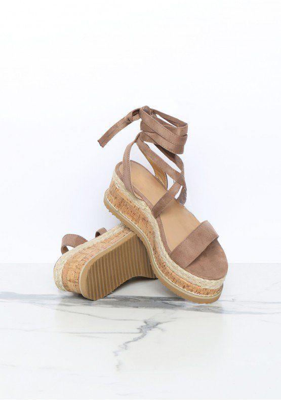 8c2e14bb047 Jolene Mocha Suede Tie Up Espadrille Platform Sandals Missy Empire