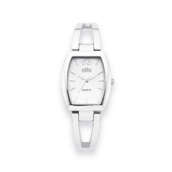 Elite Ladies Silver Tone Silver Dial Semi Bangle Watch