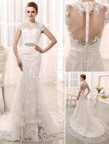 Sereia trem capela strass vestido de casamento nupcial marfim com pescoço de jóia - Milanoo.com