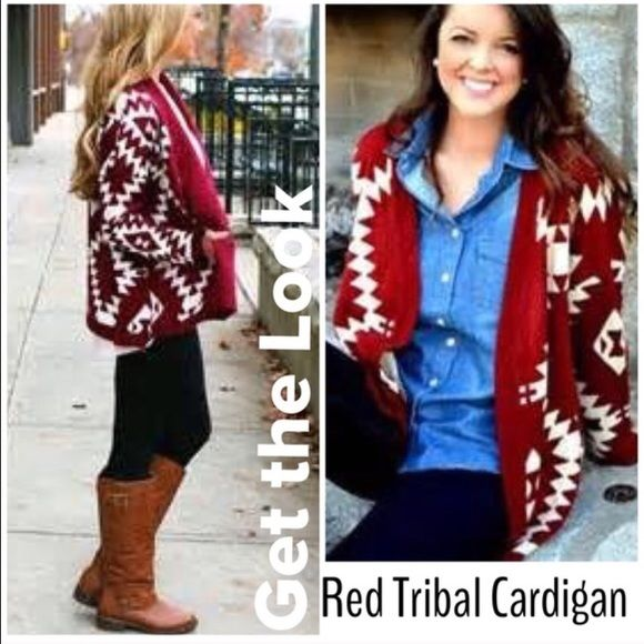 Tribal Cardigan️️ Best selling and last one ️Loose knit red tribal Cardigan️️ as shown in second photo . Always 5 star rated . NWT will fit up to size 8 Vivacouture Sweaters