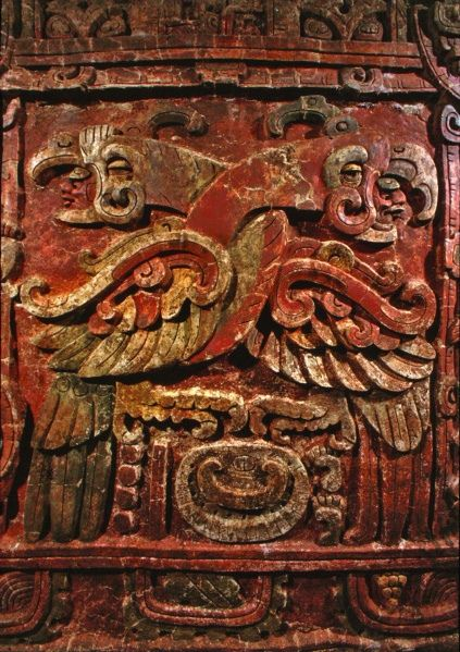 The Margarita Panel, a grand, modeled-stucco building panel, measures almost 9 feet high by 12 feet wide. Discovered by a Penn Museum excavation team in the 1990s,it features the emblematic name of Copan's royal founder,Kinich Yax K'uk'Mo.The king's name is shown as two entiwined birds:a quetzal bird and scarlet macaw-Carved around 450 CE,found in Copan Acropolis Penn Museum
