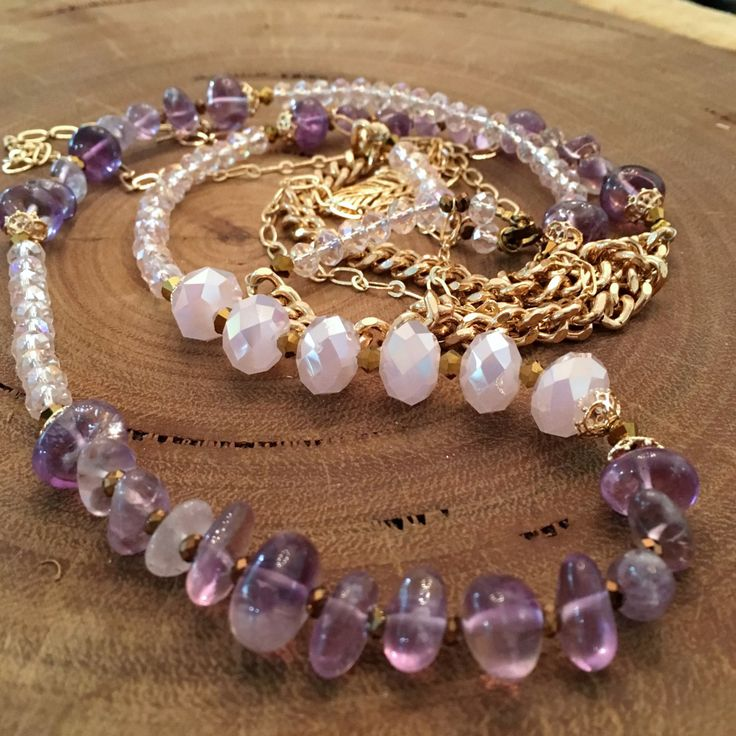 Long Amethyst and Pale pink gemstone Necklace by SiennabohoTC on Etsy