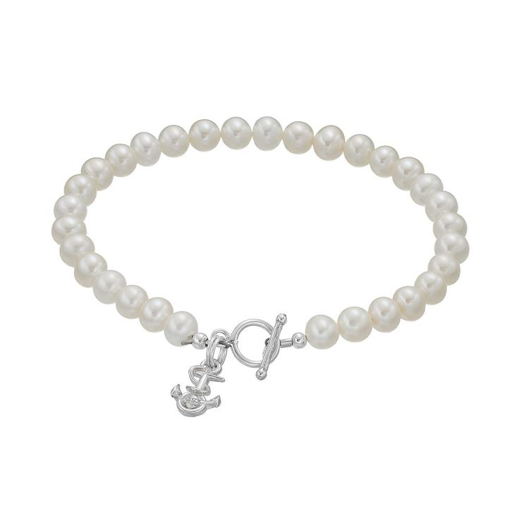 """Dayna U US Navy Anchor Sterling Silver Freshwater Cultured Pearl Toggle Bracelet, Women's, Size: 7.5"""", White"""