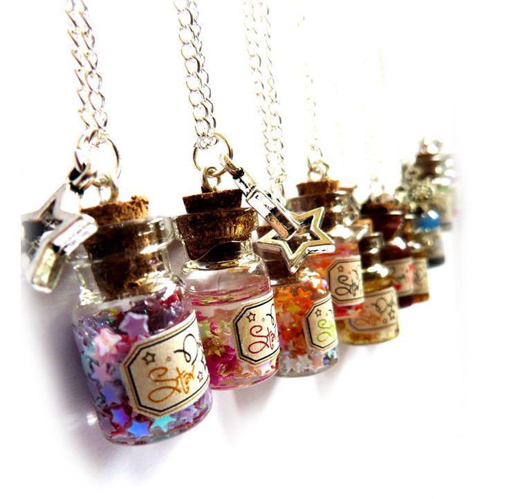 collana bottiglietta ciondolo bottiglie mare polvere di stelle regalo mini bottiglia, by Mosquitonero Shop, 9,90 € su misshobby.com