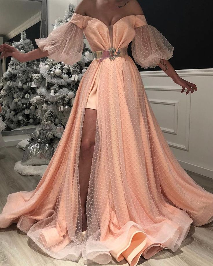 Peach Beaded Lace Gown Evening dress fashion, Evening