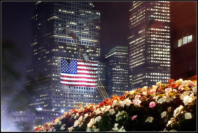 American Flag at Ground Zero (9/11) - Photo taken September 11, 2007 in the Financial District, NYC