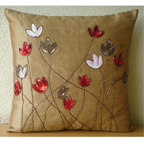 Tulip Sparkle - Throw Pillow Covers - 16x16 Inches Silk Pillow Cover with Sequin Embroidery. $25.00, via Etsy.