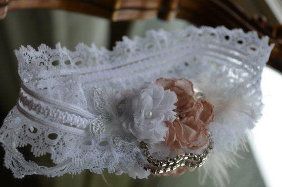 Flower Wedding Garter - White Lace Garter Vintage Rhinestone Accent