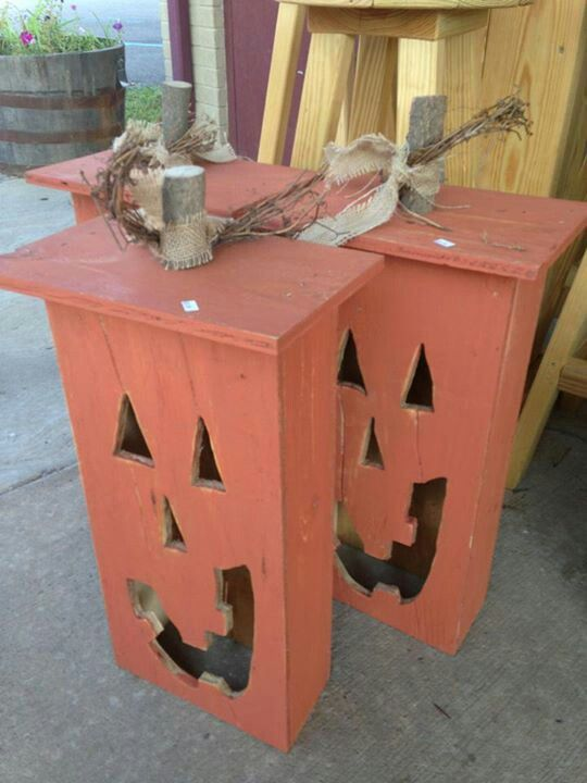 Jack o lanterns made out of old drawers, cant wait to do these! and I have another idea too