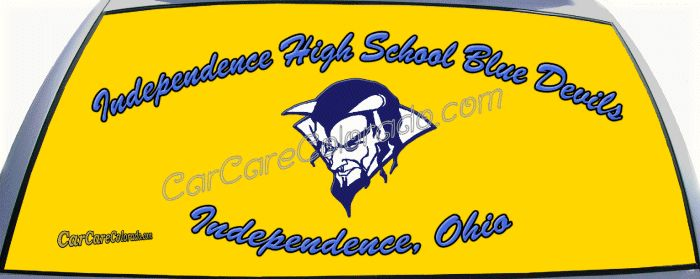Independence High School Blue Devils from Independence, Ohio Custom Truck Rear Window Graphic Decals. Celebrate your high school with a custom rear window graphic decal.