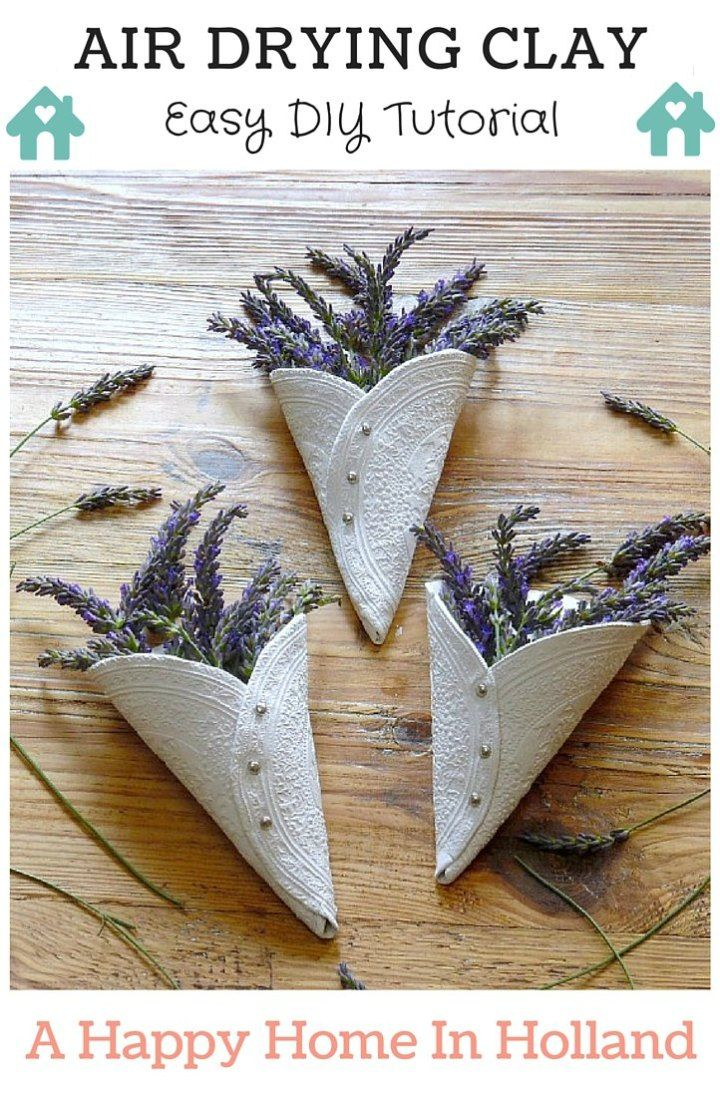 Air Drying Clay Project Idea: Simple Embossed Lavender Display Cones