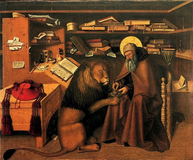 Colantonio, Polittico di San Lorenzo Maggiore, San Gerolamo Nello Studio, olio su tavola, 1445-46, Napoli, Museo di Capodimonte