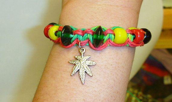 Rasta Ganja Love Hemp Bracelet Pot Leaf  by sherrishempdesigns