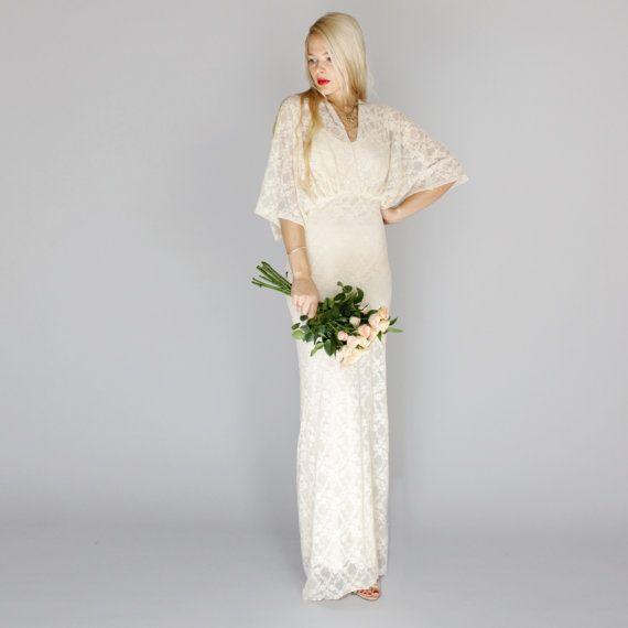 Kimono style white wedding dress