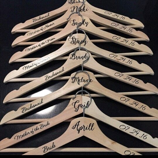 Personalised wedding hanger decals.